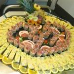 Buffet à la carte - Terrine de gambas et curcuma , verrine de lentilles et saumon fumé